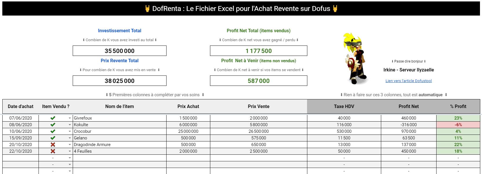 achat_revente_excel_dofus